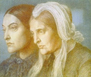 Christina Rossetti with Frances Rossetti, her mother. Painting by Dante Gabriel Rossetti